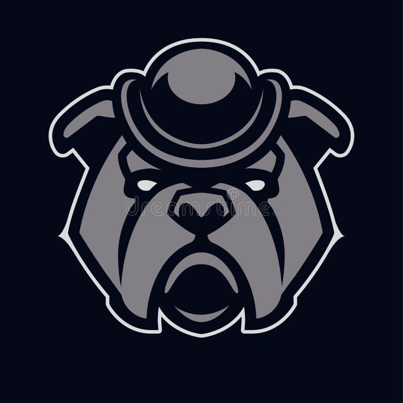 Bulldog in Hat Mascot Vector Icon stock illustration