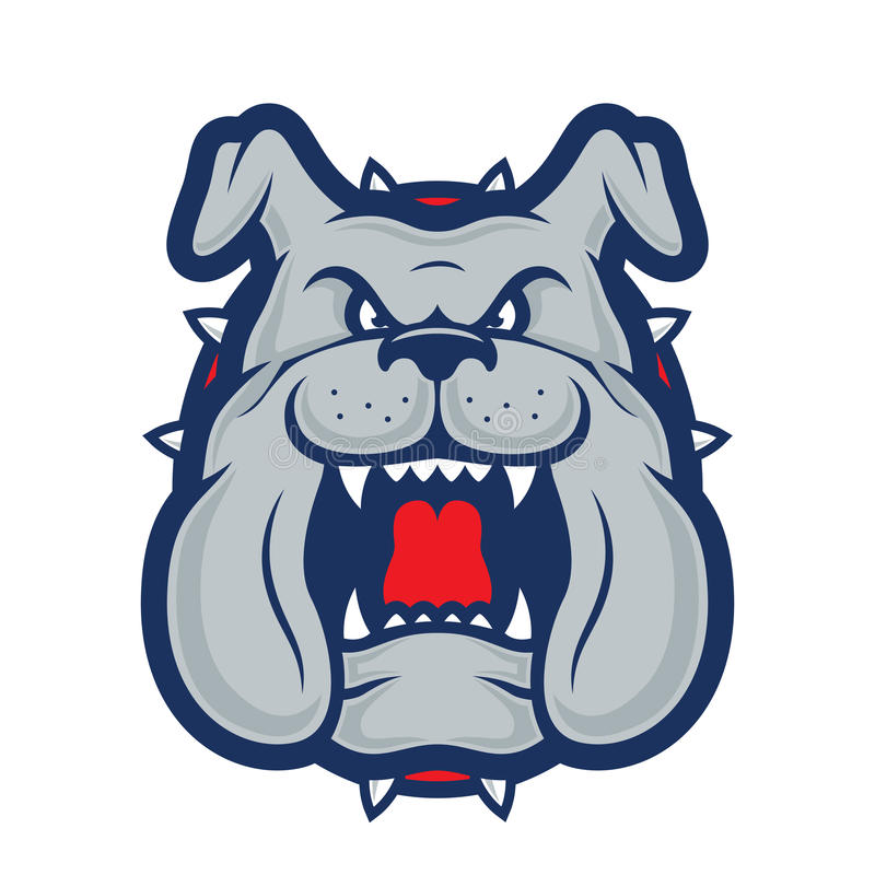 Bulldog head mascot. Clipart picture of a bulldog head cartoon mascot logo character royalty free illustration