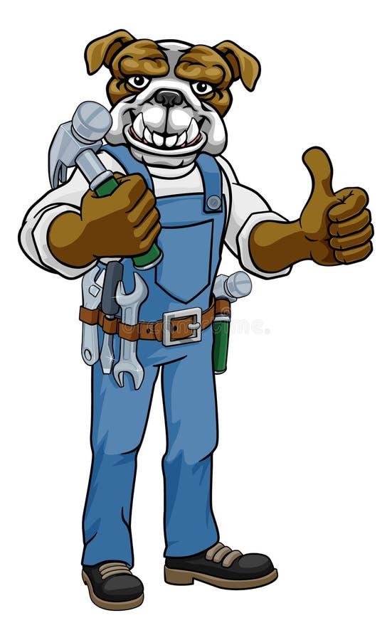 Bulldog Mascot Carpenter Handyman Holding Hammer vector illustratie