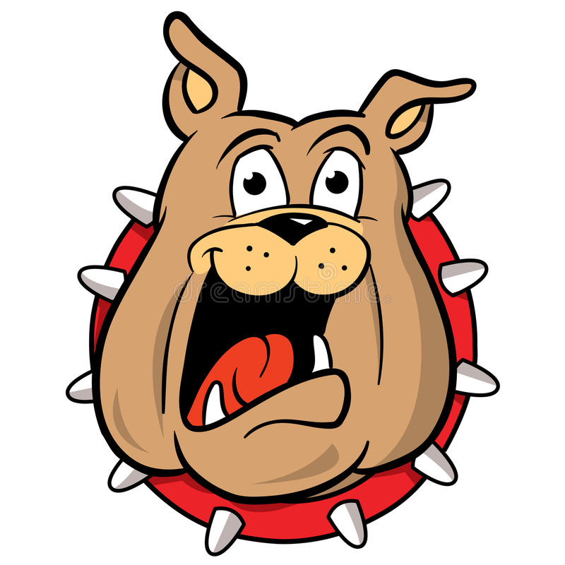 Bulldog mascot cartoon illustration. Cartoon illustration of a bulldog wearing a spiked collar, head only vector illustration