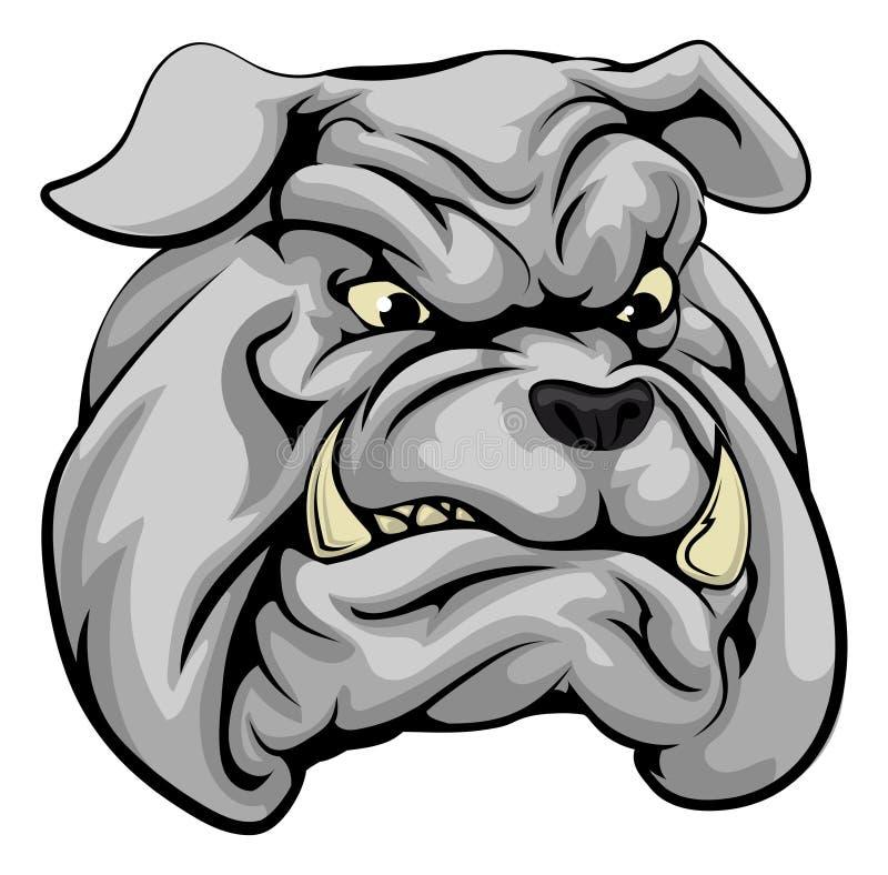 Bulldog mascot character. An illustration of a fierce bulldog animal character or sports mascot