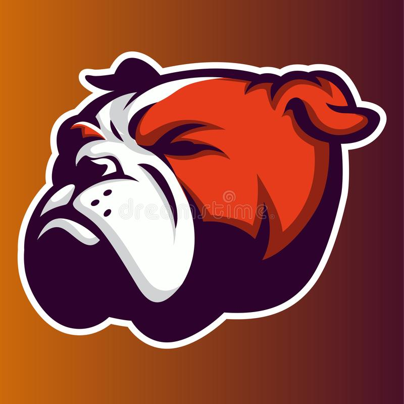 Bulldog red Annimal head logo mascot icon vector royalty free illustration