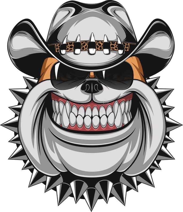 Bulldogg i en cowboyhatt royaltyfri illustrationer