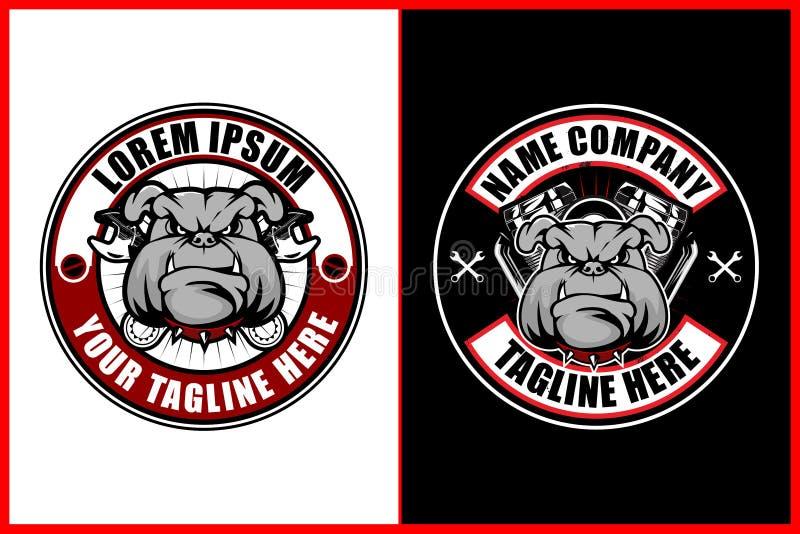 Bulldogg med skiftnyckeln och dentvilling- motorn för mall för logo för motorcykelklubbavektor royaltyfri illustrationer