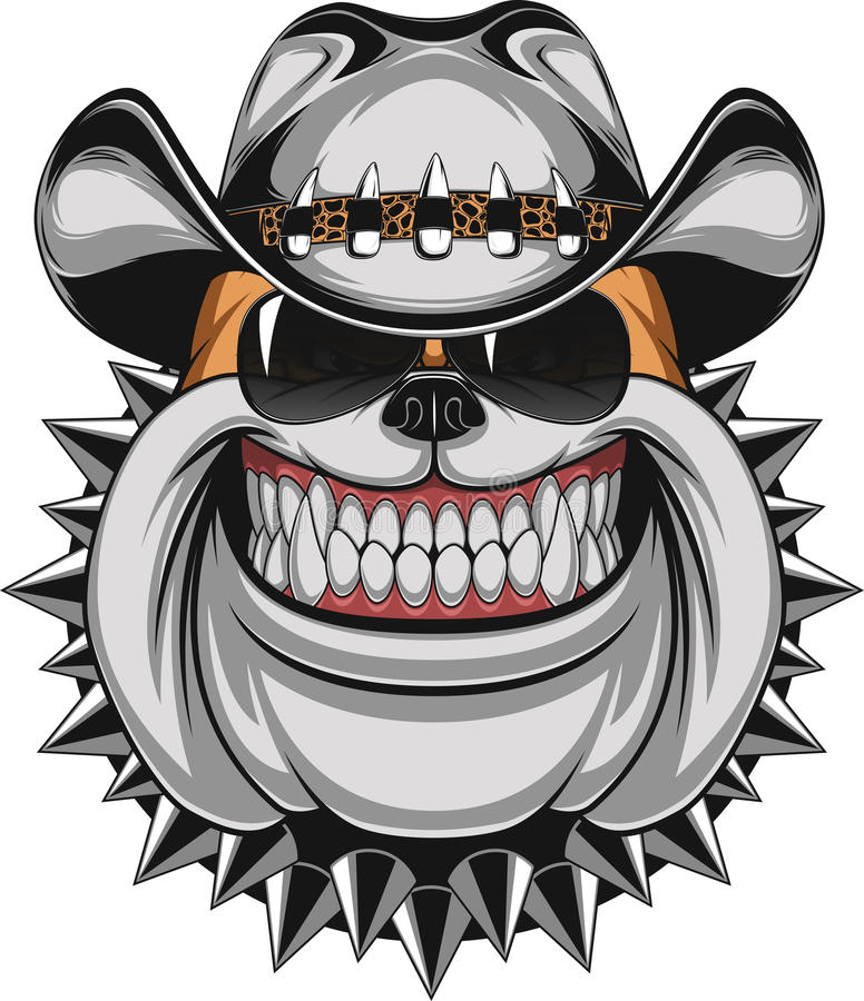 Bulldogge in einem Cowboyhut lizenzfreie abbildung