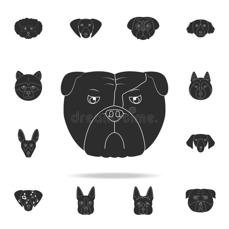 Bulldoggengesichtsikone Ausführlicher Satz Hundeschattenbildikonen Erstklassiges Grafikdesign Eine der Sammlungsikonen für Websit stock abbildung
