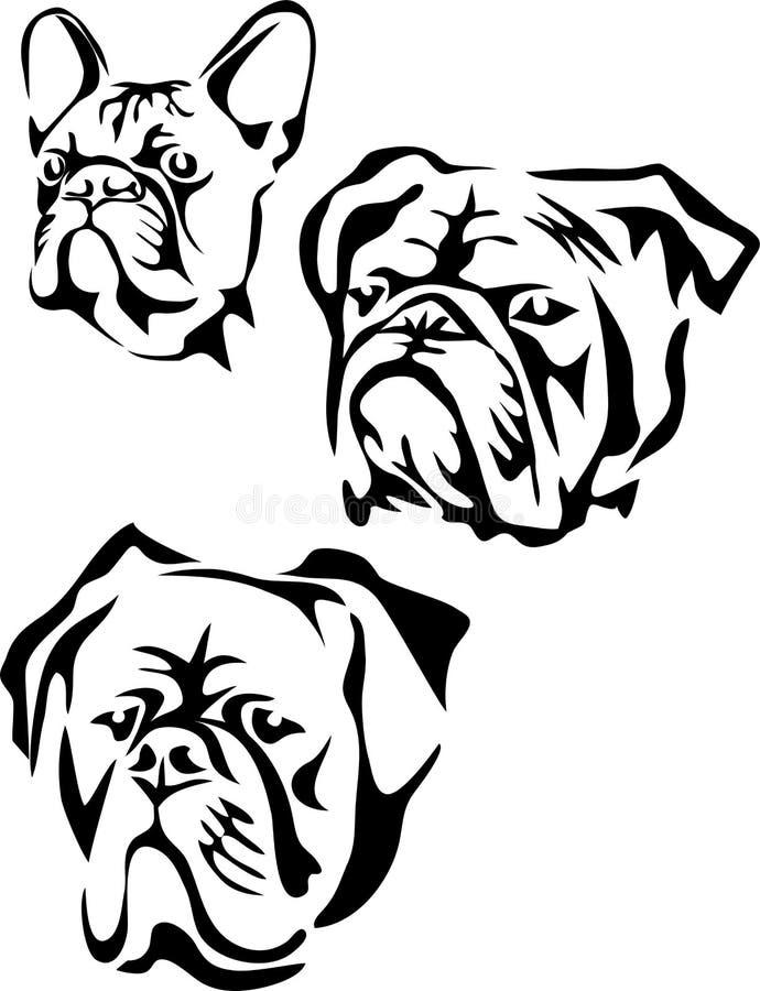 Bulldogghuvud vektor illustrationer