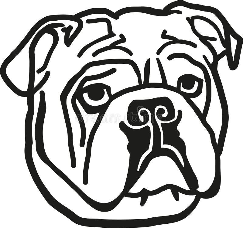 Bulldogghuvud royaltyfri illustrationer