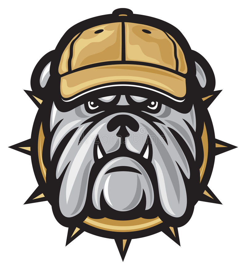 Bulldogghuvud och baseballmössa stock illustrationer