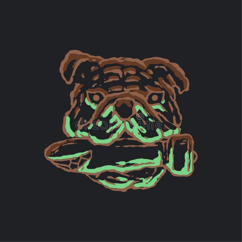 Bulldoggillustration med kulan vektor illustrationer