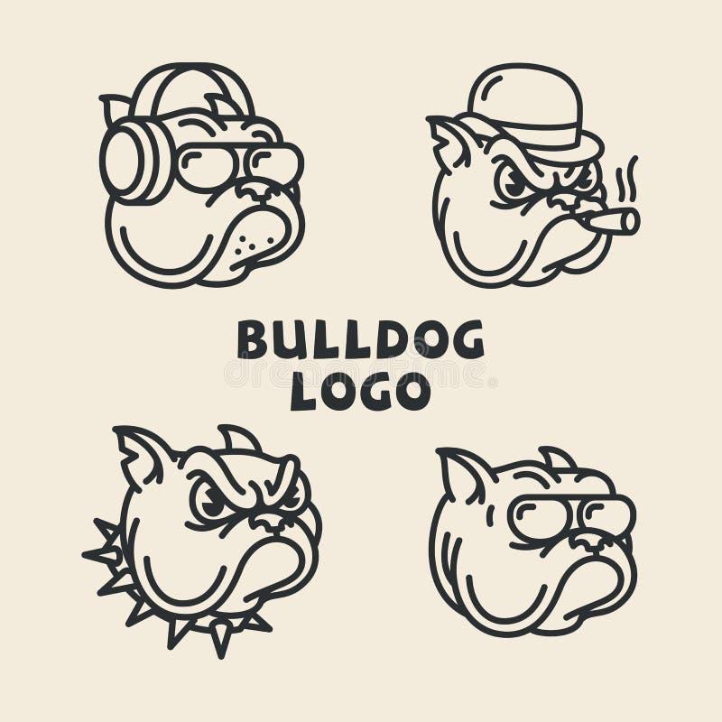 Bulldogglogoer vektor illustrationer