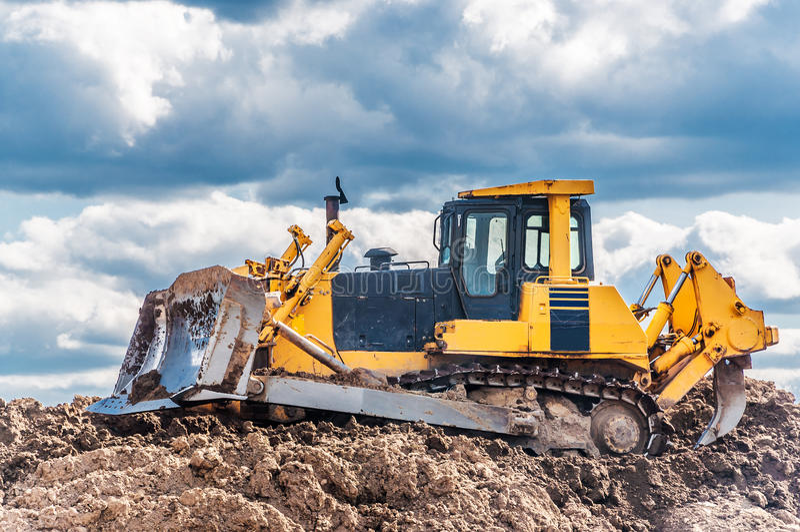 Bulldozer in actie royalty-vrije stock fotografie