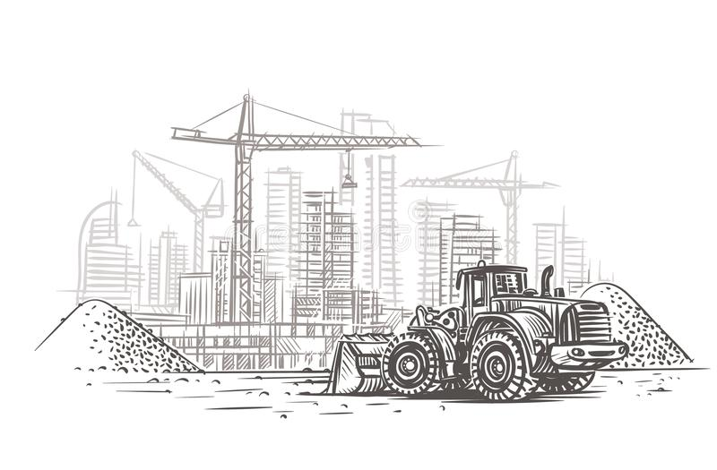 Bulldozer auf Baustelleskizze Vektor überlagert lizenzfreies stockbild