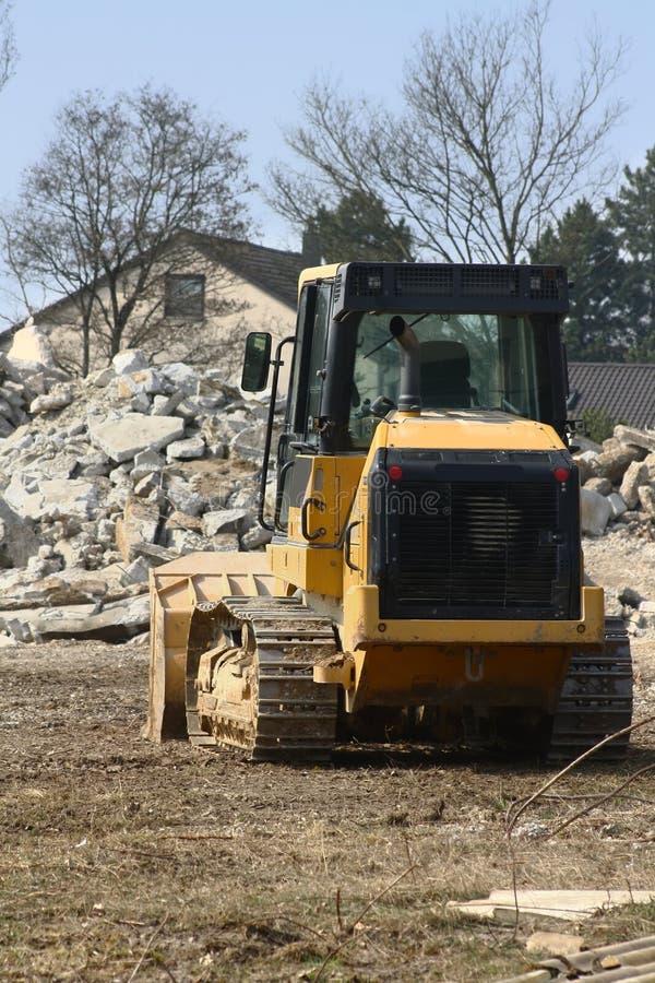 Bulldozer bij een bouwwerf stock fotografie