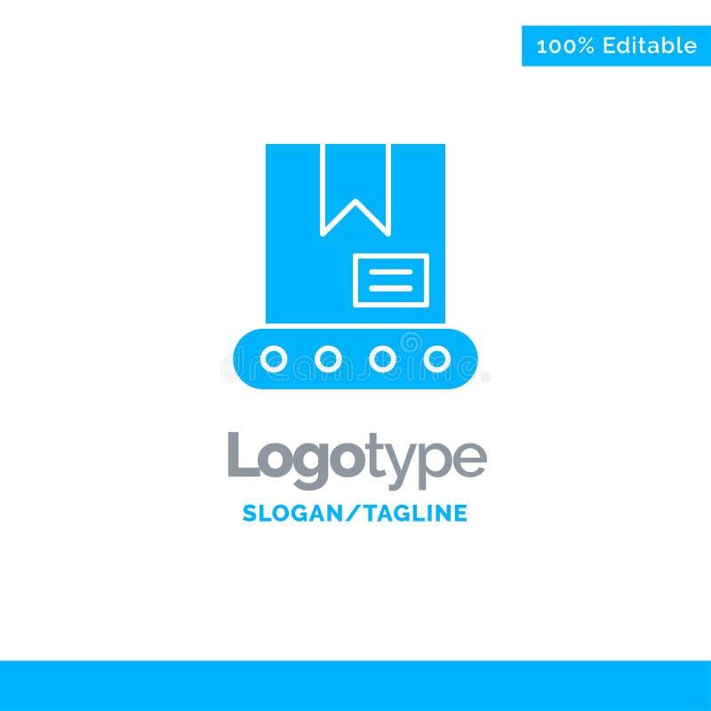 Bulldozer, Bouw, Crane Blue Solid Logo Template Plaats voor Tagline stock illustratie