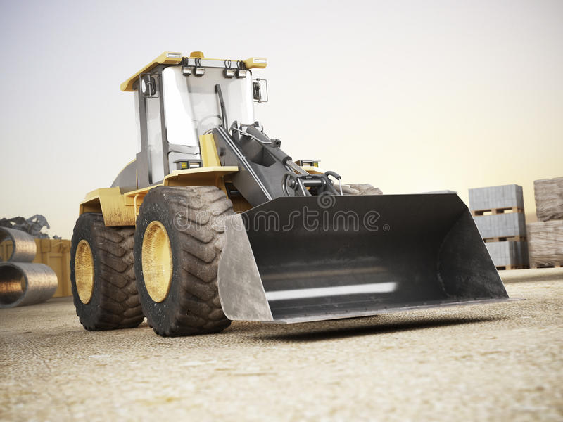 Bulldozer on a building construction site. 3d rendering royalty free illustration