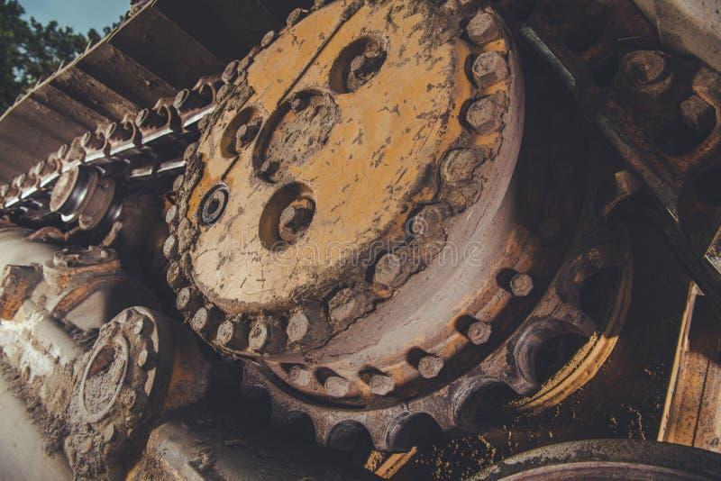 Bulldozer Caterpillar Track. Closeup. Heavy Equipment Industrial Theme royalty free stock images