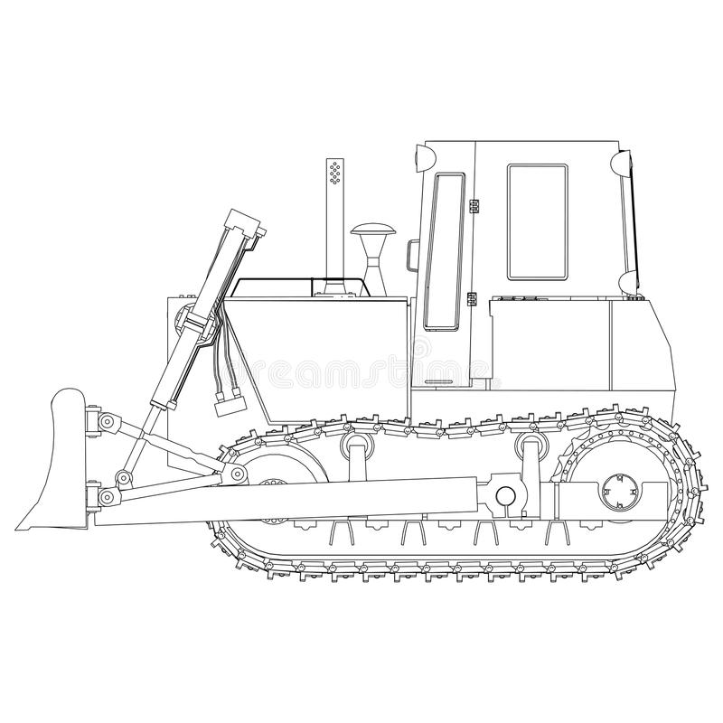 Bulldozer del profilo di vettore, escavatore, selezionatore Attrezzatura per l'edilizia commovente dalla strada della terra pesan illustrazione di stock