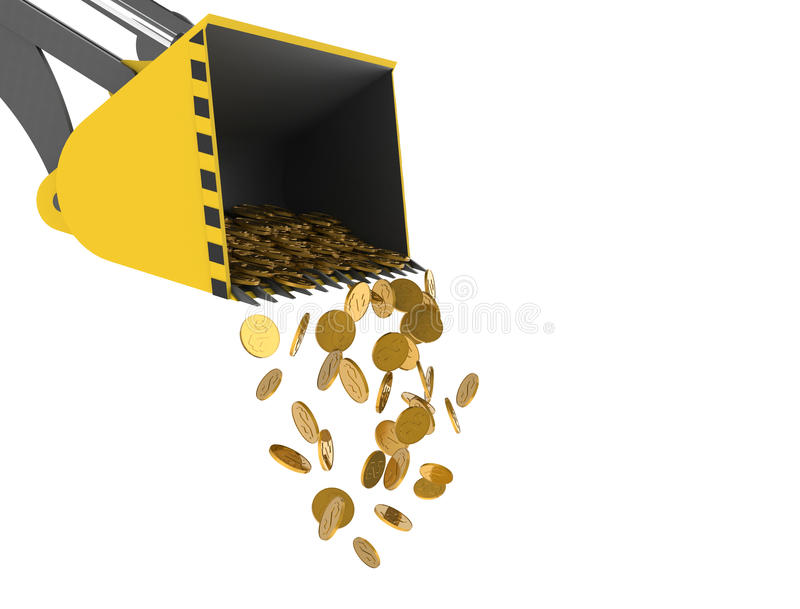 Bulldozer droping money. Bulldozer shovel droping dollar coins. Computer generated three dimensional concept. Deavluation, Investment royalty free illustration