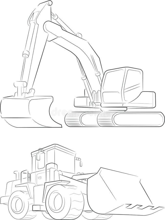 bulldozer excavator vector line art stock vector illustration 60790061. Black Bedroom Furniture Sets. Home Design Ideas