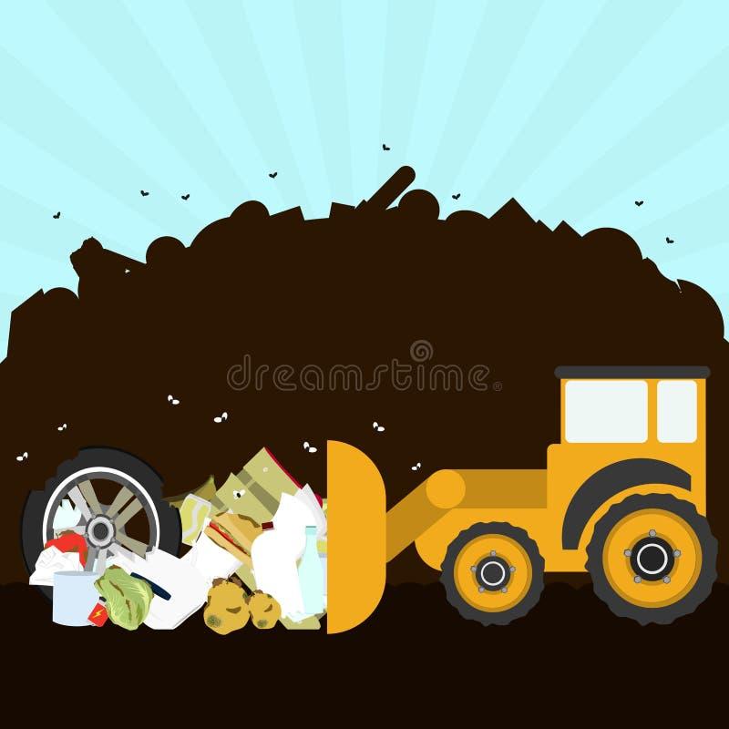 Bulldozer i nedgrävningen av sopor vektor illustrationer
