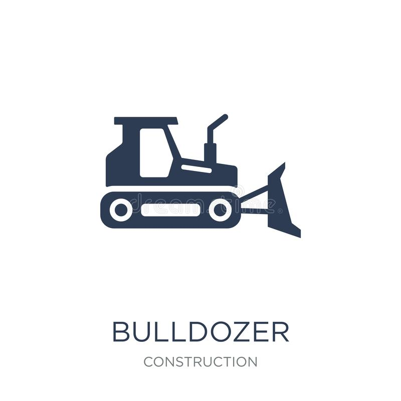 Bulldozer icon. Trendy flat vector Bulldozer icon on white background from Construction collection. Vector illustration can be use for web and mobile, eps10 stock illustration
