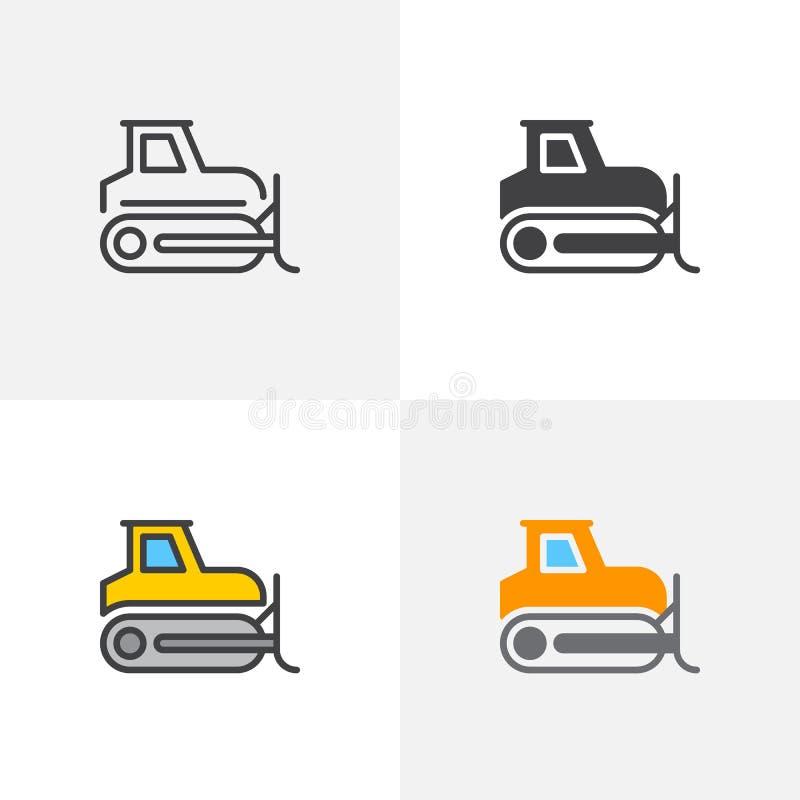 Bulldozer, icona del cingolo illustrazione di stock