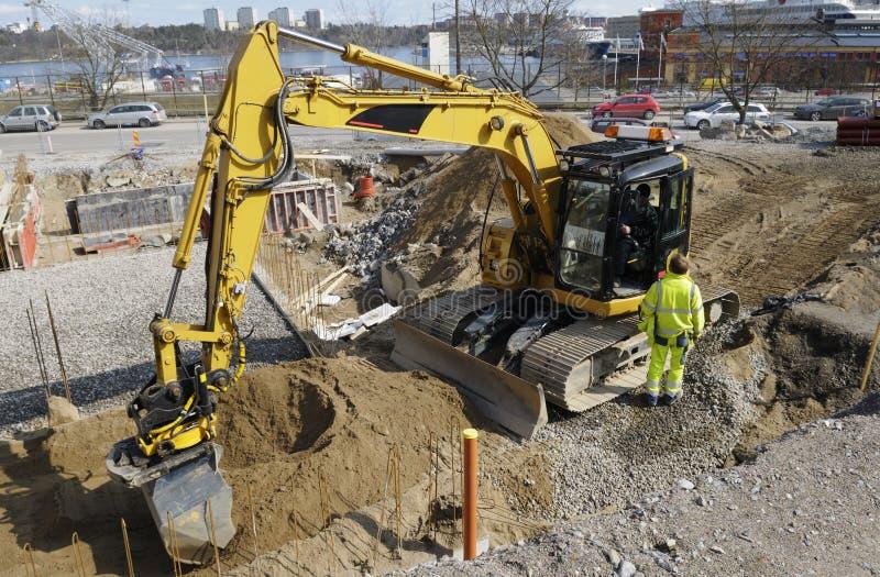 Download Bulldozer Inside Building Site Stock Image - Image: 5176645