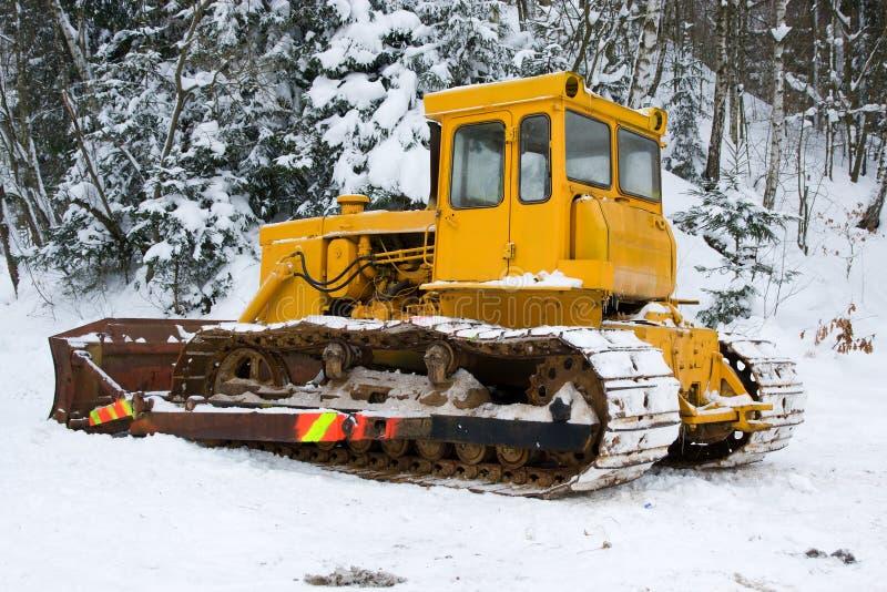 Bulldozer in inverno immagini stock libere da diritti