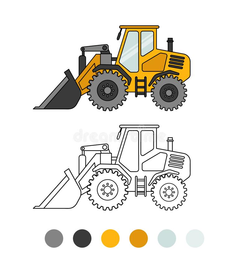 Game for kids. Bulldozer line illustration. The coloring book for preschool kids with simple educational gaming level. Special equipment royalty free illustration