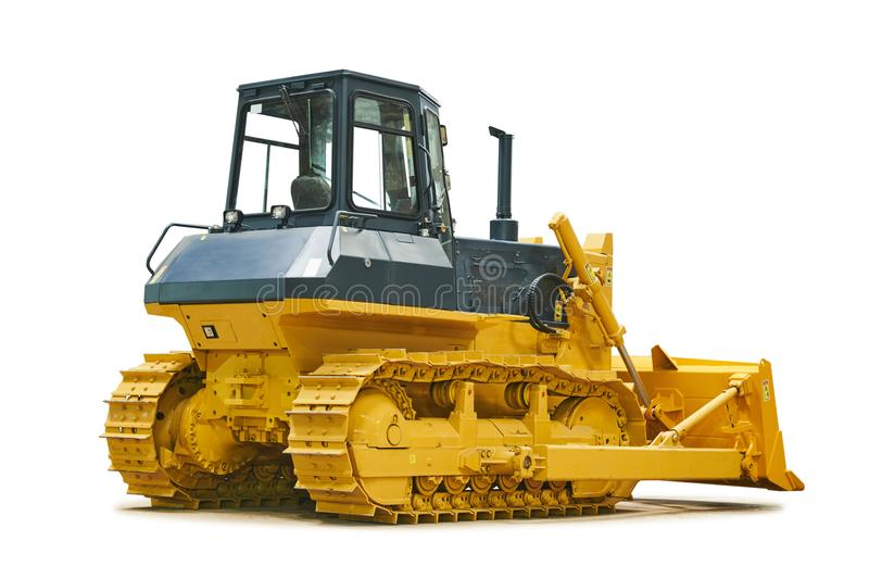 Bulldozer loader machine for earthmoving works on white. Bulldozer loader machine for earth moving works on white. Heavy construction machinery royalty free stock photos
