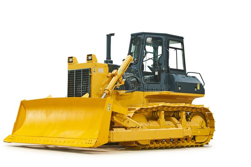 Bulldozer loader machine for earthmoving works on white. Bulldozer loader machine for earth moving works on white. Heavy construction machinery stock photo