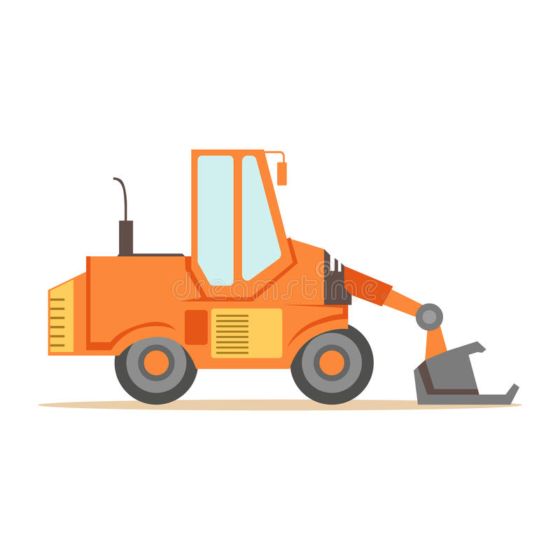 Bulldozer Loader Truck Machine , Part Of Roadworks And Construction Site Series Of Vector Illustrations. Flat Cartoon Drawings With Professional City Streets vector illustration