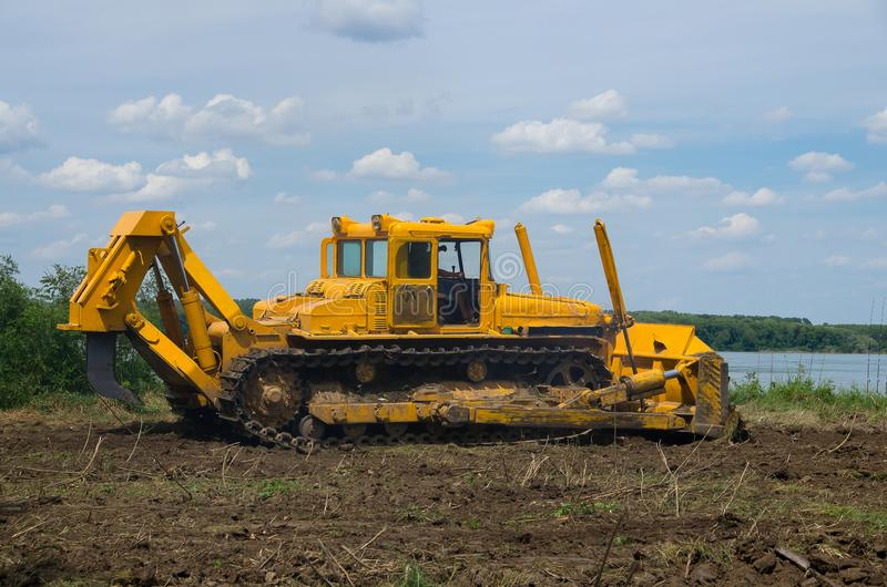 Bulldozer. Mechanical Site Preparation for Forestry. Heavy-duty construction for increased shearstress on tracts with increased roots and stumps royalty free stock image
