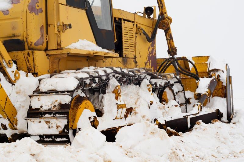 Bulldozer Ontruim van sneeuw royalty-vrije stock fotografie