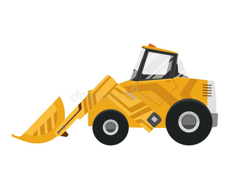 Bulldozer quarry machine. Stone wheel yellow digger. Backhoe front loader truck. Work tractor excavator. Vector. Illustration vector illustration