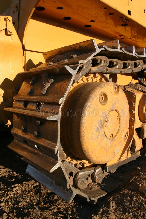 Bulldozer Track. In later afternoon light on a building site royalty free stock photography