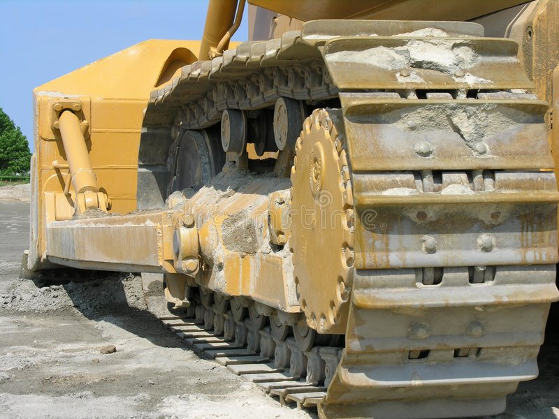 Bulldozer track. On construction site stock photography