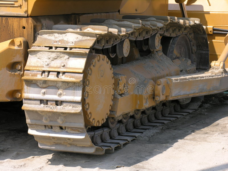 Bulldozer track. Track on Bulldozer used in construction royalty free stock image