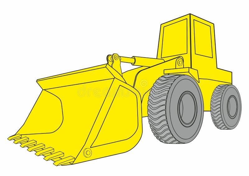 Bulldozer, veicoli della costruzione Concetto radente con un bulldozersi semplice royalty illustrazione gratis