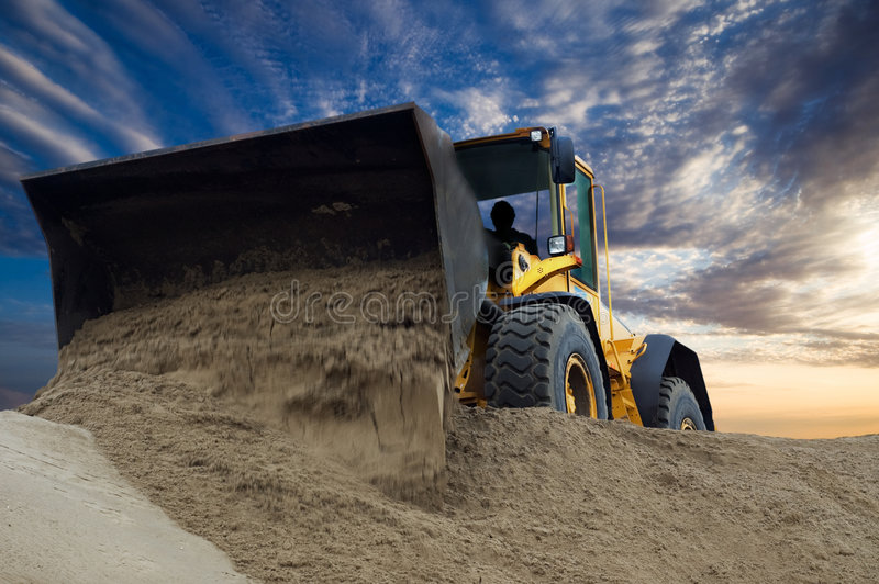 Bulldozer at work stock image