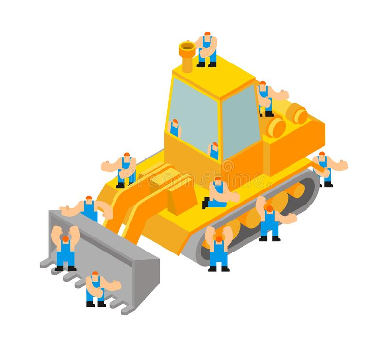 Bulldozer isometric style isolated. Agrimotor 3d model. Tractor vector.  stock illustration