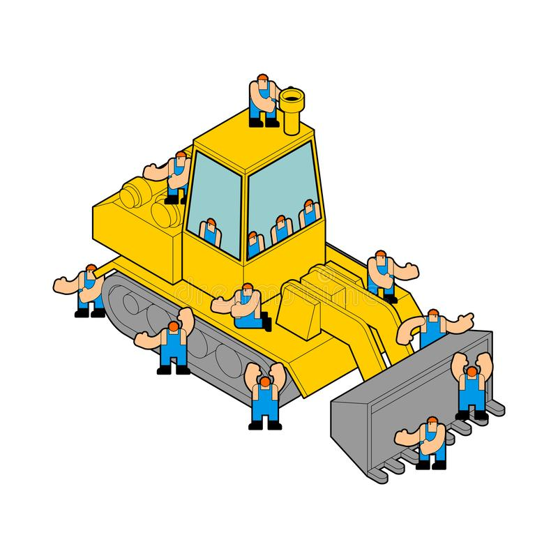Bulldozer and workers. Tractor and Road labor.  vector illustration
