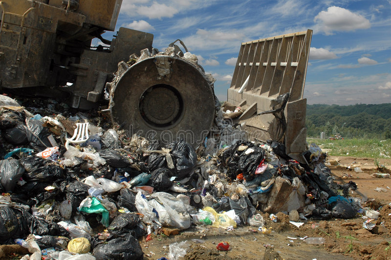 bulldozerförrådsplatsavskräde fotografering för bildbyråer