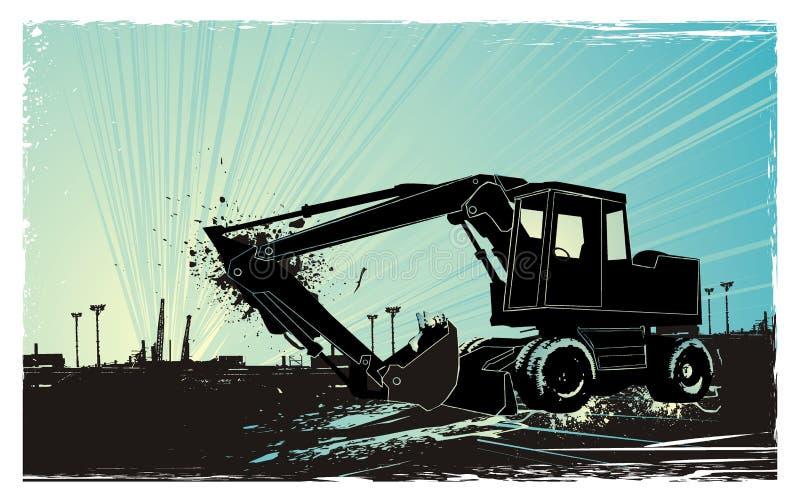 bulldozersoluppgång vektor illustrationer