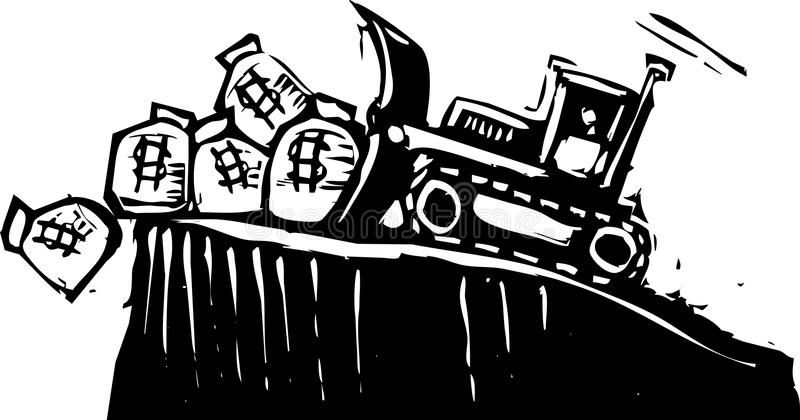 Bulldozing Geld stock illustratie