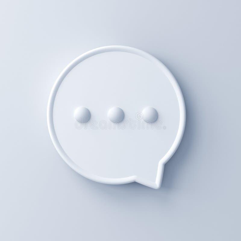 Bulle abstraite de la parole 3d d'isolement sur le fond blanc illustration stock