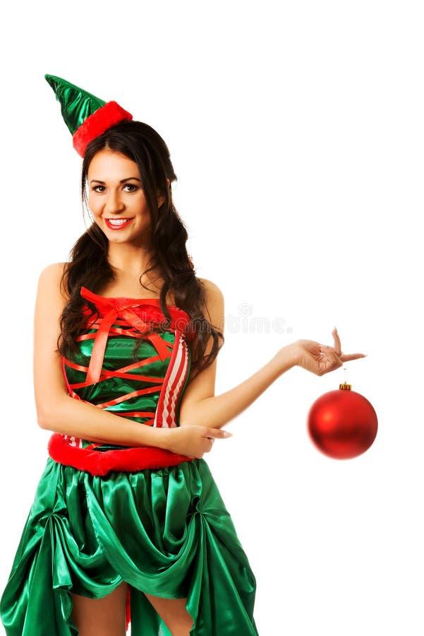 Bulle accrochante de Noël de femme sur son doigt images libres de droits