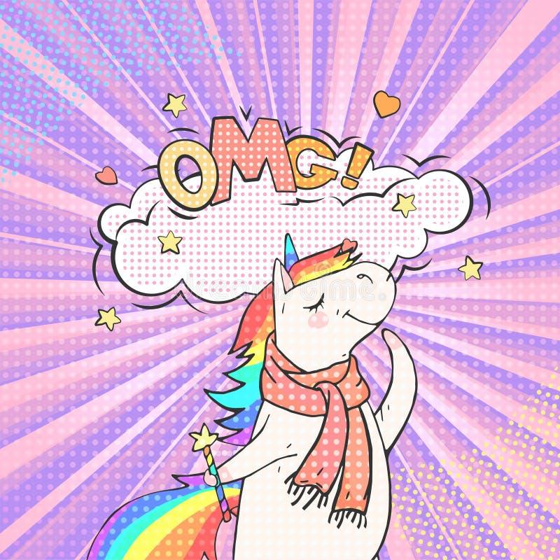Bulle animale féerique de licorne et de parole avec le texte OMG illustration libre de droits