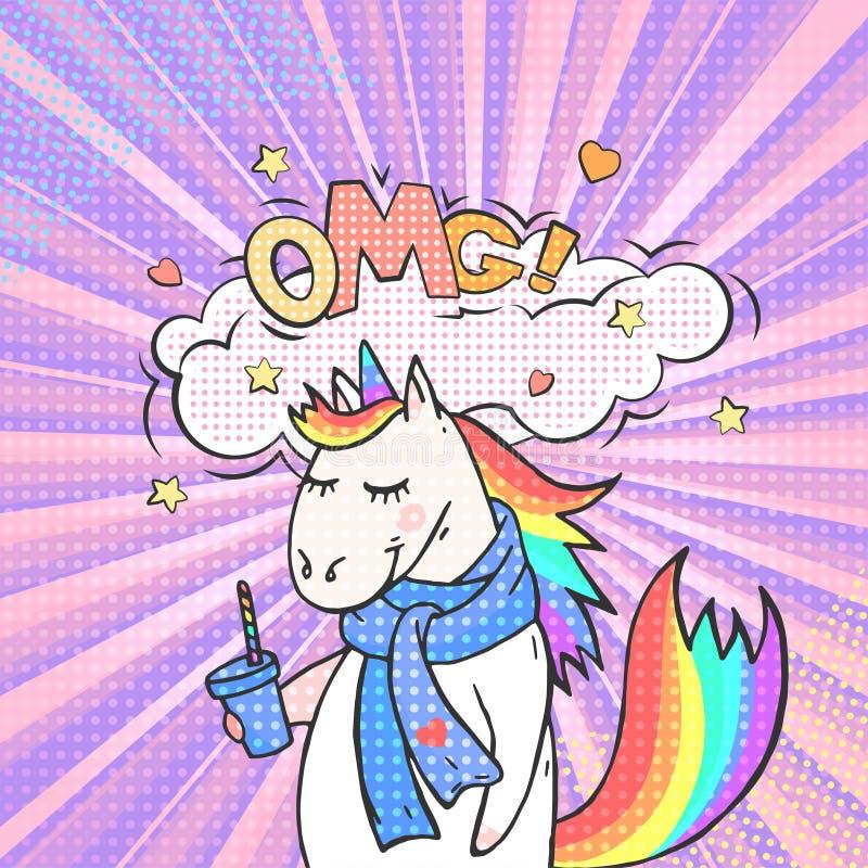 Bulle animale féerique de licorne et de parole avec le texte OMG illustration de vecteur